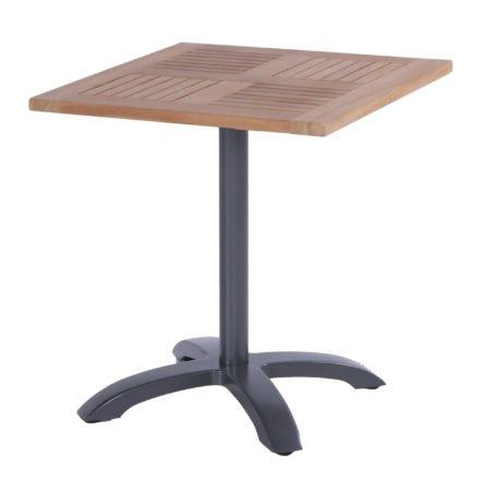 Hartman Bistro Table, Gestell Aluminium xerix, Tischplatte Teakholz quadratisch