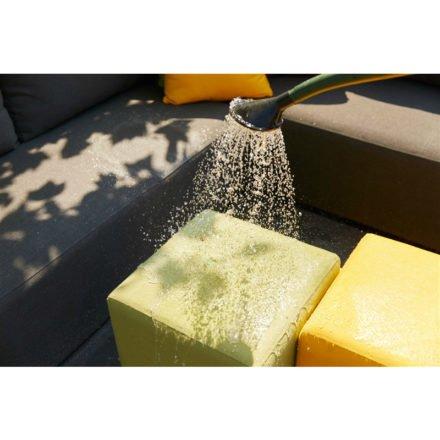 """Hartman Hocker """"Alex"""", Aluminium, Bespannung Sunbrella® grün und gelb"""