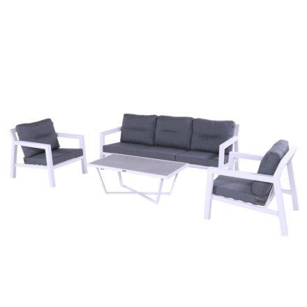 """Hartman """"Porto Rico"""" Loungesessel und Loungesofa, Aluminium weiß mit Loungetisch """"Luxor"""""""