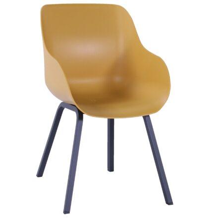 "Hartman ""Sophie Element"", Organic Chair, Gestell Aluminium carbon black, Sitzschale curry yellow"