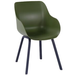 "Hartman ""Sophie Element"" Organic Chair, Gestell Aluminium carbon black, Sitzschale moss green"