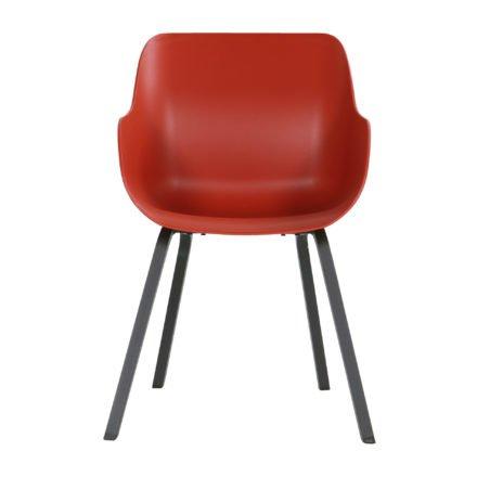 "Hartman ""Sophie Element"" Organic Chair, Gestell Aluminium carbon black, Sitzschale vulcano red"