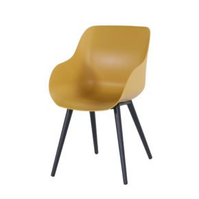 "Hartman ""Sophie Studio"" Organic Chair, Gestell Aluminium carbon black, Sitzschale curry yellow"