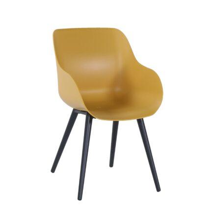 "Hartman ""Sophie Studio"" Organic Chair, Gestell Aluminium carbon black, Sitzschale curry yellow"
