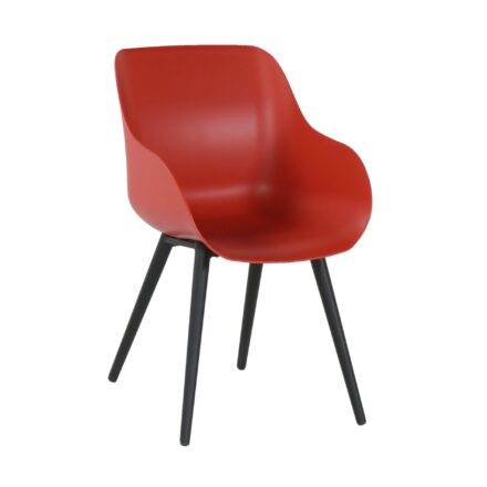 "Hartman ""Sophie Studio"" Organic Chair, Gestell Aluminium carbon black, Sitzschale vulcano red"