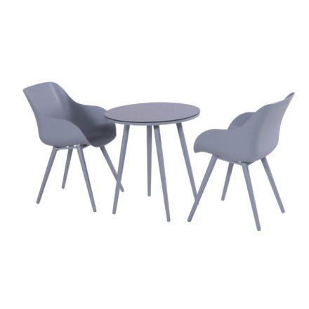 """Hartman """"Sophie Studio"""" Organic Chair, Gestell Aluminium misty grey, Sitzschale misty grey mit """"Sophie Studio"""" Bistrotisch, misty grey"""