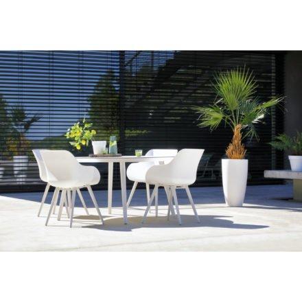 Hartman Sophie Studio Table, rund, Gestell Aluminium royal white, Tischplatte HPL white