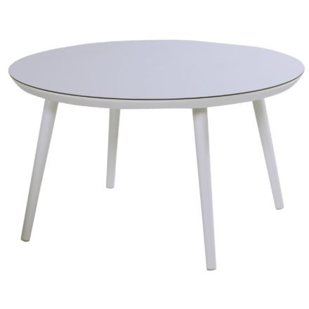 Hartman Sophie Studio Table, rund, Gestell Aluminium royal white, Tischplatte HPL white