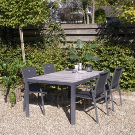 """Hartman """"Canterbury"""" Gartenstuhl und """"Tanger"""" Gartentisch 168 x 105 cm, Gestell Aluminium xerix, Tischplatte Keramikfliesen in grauer Holzoptik"""