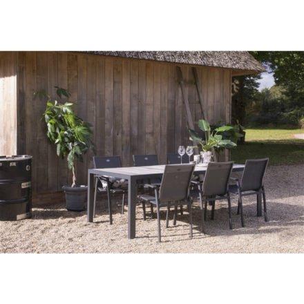 """Hartman """"Canterbury"""" Gartenstuhl und """"Tanger"""" Gartentisch 228 x 105 cm, Gestell Aluminium xerix, Tischplatte Keramikfliesen in grauer Holzoptik"""