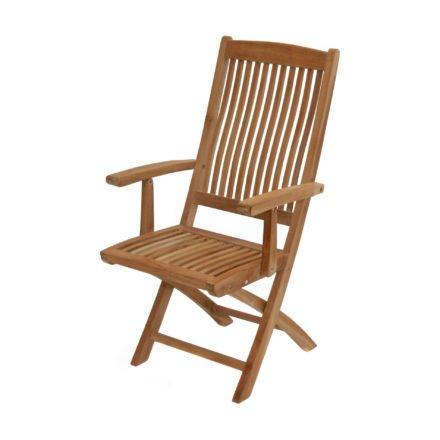 """Ploß Klappstuhl mit Armlehnen """"Arlington"""" mit ergonischer Sitz- und Rückenfläche, Premium Teak natur"""