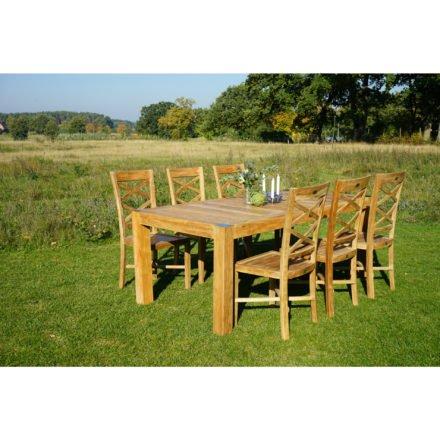 """Ploß Gartentisch """"Bromo"""" mit 6 Stühlen """"Bristol"""", Premium-Teak natur"""