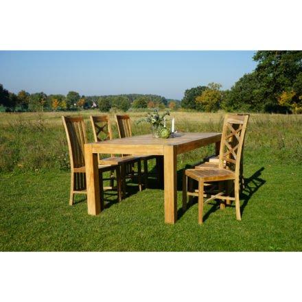 """Ploß Gartentisch """"Bromo"""" mit je 3 Stühlen """"Bristol"""" und """"Leeds"""", Premium-Teak natur"""