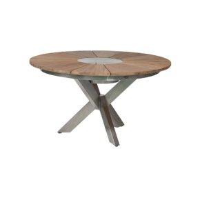 """Diamond Garden """"Lyon"""" Gartentisch, 3-Bein-Gestell Edelstahl, Tischplatte rund Teakholz recycelt mit abnehmbarer Edelstahleinlage für passenden Flaschenkühler"""