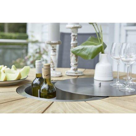 """Diamond Garden """"Lyon"""" Gartentisch, Edelstahl Gestell, Tischplatte rund, Teakholz recycelt mit Fase, Edelstahl-Abdeckung in der Tischmitte"""