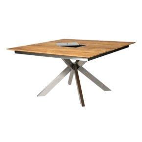 """Diamond Garden """"Lyon Quattro"""" Gartentisch, Gestell Edelstahl, Tischplatte Teakholz recycelt mit Edelstahleinlage für Flaschenkühler"""