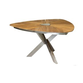 """Diamond Garden """"Lyon Triangel"""", Gartentisch, Gestell Edelstahl, Tischplatte Teakholz recycelt mit Edelstahlplatte"""