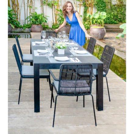 "Home Islands Gartentisch ""Panay"", Gestell Aluminium anthrazit, Tischplatte Polywood Betonoptik, Tischgröße: 220x95 cm"