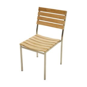 """Ploß """"Brooklyn"""" Stapstuhl ohne Armlehnen, Gestell Edelstahl, Sitz- und Rückenfläche Teak natur gebürstet"""