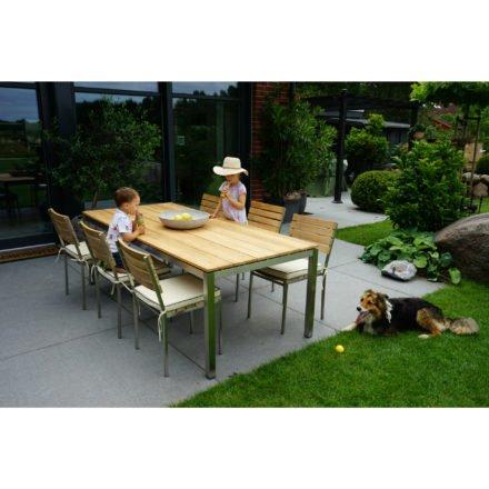 """Ploß """"Brooklyn"""" Tisch 220x100 cm mit 6 Stapelstühlen"""