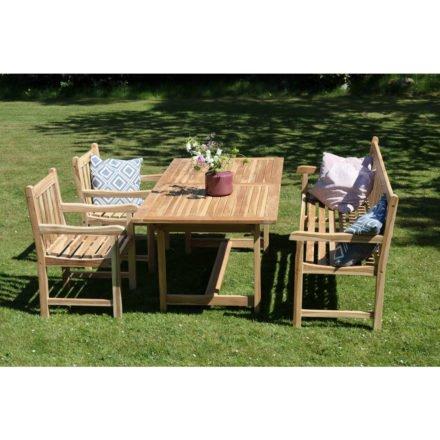 """Ploss Landhausbank und 2 Landhaussessel """"Coventry Eco"""" mit Tisch """"Nashville Eco"""", Eco Teak natur"""