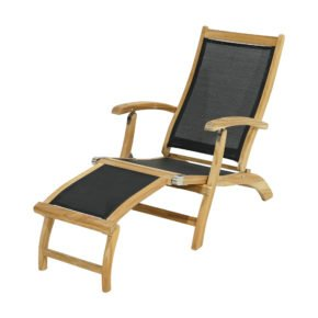 "Ploß ""Fairchild"" Deckchair, Teak natur, Bespannung Twitchell Textilene® schwarz"