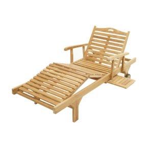 """Ploß Gartenliege """"Mistral"""" mit verstellbarer Rückenlehne sowie Armlehnen und ausziehbarem Tablett, Premium-Teak natur"""