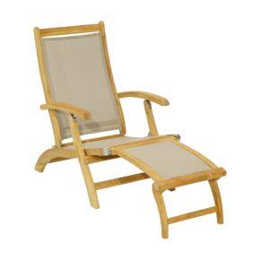 """Ploß """"Richmond"""" Deckchair, Teak natur, Bespannung Twitchell Textilene® taupe"""