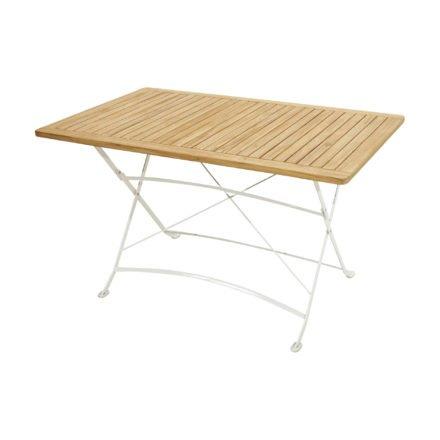 """Ploß Klapptisch 130x80 cm """"Rom"""", Gestell Eisen weiß, Tischplatte Teak natur"""
