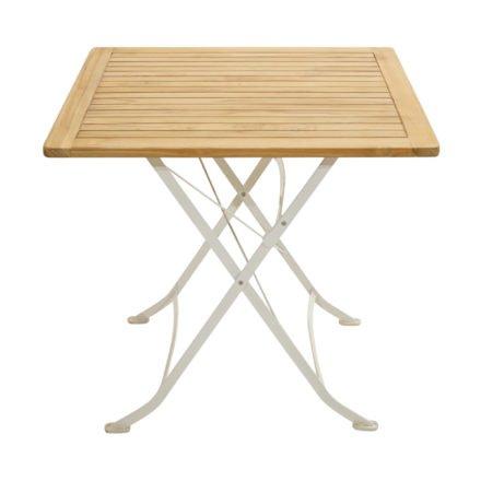 """Ploß Klapptisch 80x80 cm """"Rom"""", Gestell Eisen weiß, Tischplatte Teak natur"""