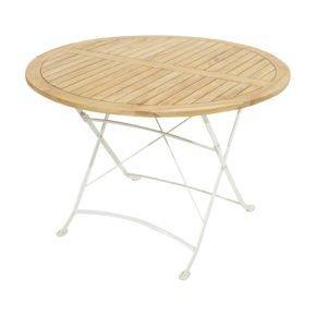 """Ploß Klapptisch Ø 110 cm """"Rom"""", Gestell Eisen weiß, Tischplatte Teak natur"""