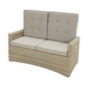 """Ploß """"Sahara"""" Comfort Loungesofa 2-Sitzer, Polyrattangeflecht halbrund beige-grau-meliert inkl. Sitz- und Rückenpolster light-grey"""