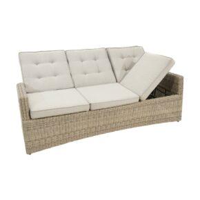 """Ploß """"Sahara"""" Comfort Loungesofa 3-Sitzer, Polyrattangeflecht halbrund beige-grau-meliert inkl. Sitz- und Rückenpolster light-grey"""