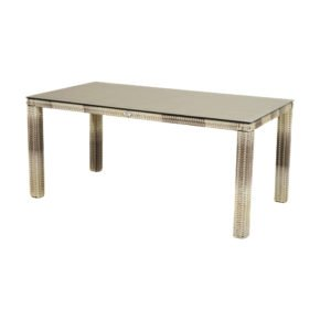 """Ploß """"Sahara"""" Diningtisch 170x90 cm, Alurahmen mit Polyrattangeflecht halbrund beige-grau-meliert, Glas-Tischplatte Steinoptik"""
