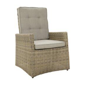"Ploß ""Sahara"" Comfort Loungesessel, Polyrattangeflecht halbrund beige-grau-meliert inkl. Sitz- und Rückenpolster light-grey"