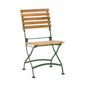 """Ploß """"Verona"""" Klappstuhl ohne Armlehnen, Teak natur, Gestell Eisen grün"""