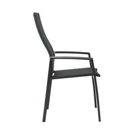 "Stern Stapelsessel ""Kari"" mit hoher Rückenlehne, Gestell Aluminium anthrazit, Textilgewebe karbon, Armlehnen Aluminium anthrazit"