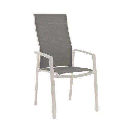 "Stern Stapelsessel ""Kari"" mit hoher Rückenlehne, Gestell Aluminium weiß, Textilgewebe silber, Armlehnen Aluminium weiß"