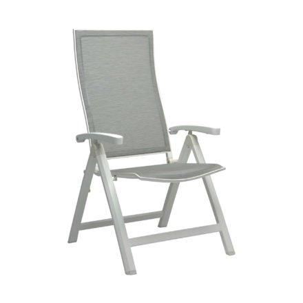 "Stern Klappsessel ""Kari"", Gestell Aluminium weiß, Textilgewebe silber, Armlehnen Aluminium weiß"