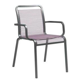 """Stern Sessel """"Oskar Rope"""", Gestell Aluminium graphit, Stringbespannung aus Textilen flieder"""