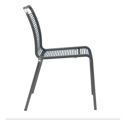 """Stern """"Oskar Rope"""" Stapelstuhl, Gestell Aluminium graphit, Stringbespannung aus Textilen jeans"""