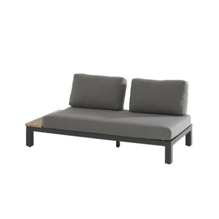"4Seasons Lounge-Seitenteil ""Portofino"", Aluminium anthrazit, Teakholz Ablage, Bezugsstoff Olefin grau"