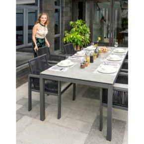 """Home Islands Gartentisch """"Nanami"""" und Gartensessel """"Siara"""", Gestell Aluminium anthrazit, Tischplatte Glaskeramik"""