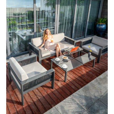 """Home Islands Loungegruppe """"Miray"""", bestehend aus einem Loungesofa und zwei Loungesesseln, Tisch """"Liem"""""""
