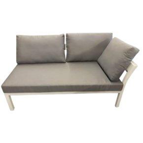 Home Islands 2-Sitzer Sofa Akina mit Armlehne links, Gestell Aluminium weiß, Polster grau