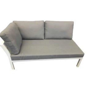 Home Islands 2-Sitzer Sofa Akina mit Armlehne rechts, Gestell Aluminium weiß, Polster grau