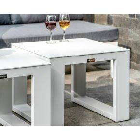 "Home Islands Beistelltisch ""Sajoko"", Gestell Aluminium weiß, Tischplatte Aluminium weiß"