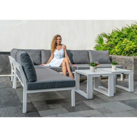 """Home Islands Loungeserie """"Akina"""", Gestell Aluminium weiß, Kissen grau"""