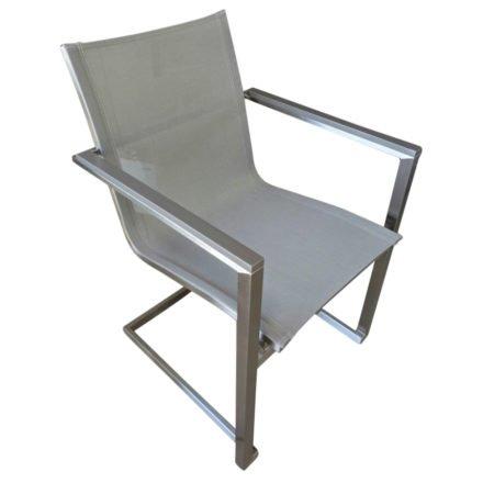 """Home Islands Freischwinger """"Daiki"""", Gestell Edelstahl, Sitzfläche Textilgewebe silbergrau, Armlehnen Aluminium"""
