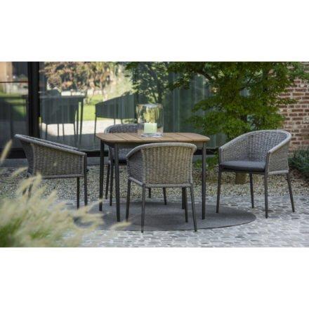 "Jati&Kebon ""Fortuna"" Dining Chair, rope press weaving grey"